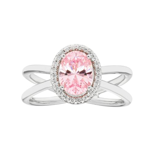 Sterling Silver Pink Cubic Zirconia Oval Halo Crisscross Ring