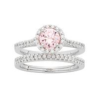 Sterling Silver Pink Cubic Zirconia Round Halo Engagement Ring Set