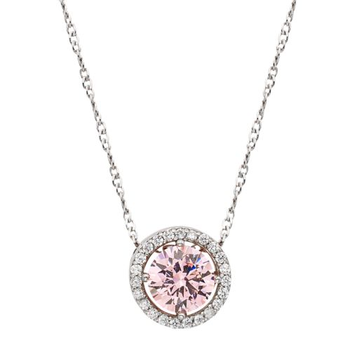Sterling Silver Pink Cubic Zirconia Round Halo Pendant Necklace