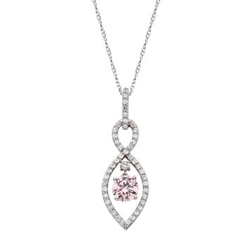 Sterling Silver Pink Cubic Zirconia Infinity Pendant Necklace