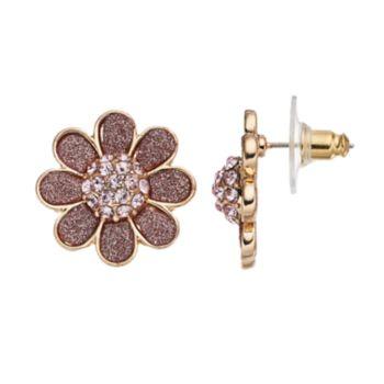 Pink Glittery Flower Drop Earrings