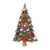 Simulated Crystal Christmas Tree Pin