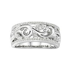 Promise Love Forever Sterling Silver 1/5 Carat T.W. Diamond Filigree Ring