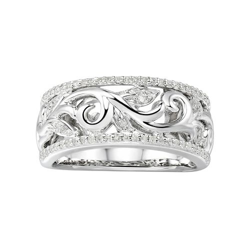 497fe17de2efb Promise Love Forever Sterling Silver 1/5 Carat T.W. Diamond Filigree Ring