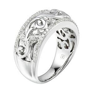 Promise Love ForeverSterling Silver 1/5 Carat T.W. Diamond Filigree Ring
