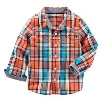 Toddler Boy OshKosh B'gosh® Orange Plaid Button-Down Shirt