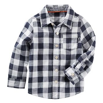 Toddler Boy OshKosh B'gosh® Navy Gingham Plaid Button-Down Shirt