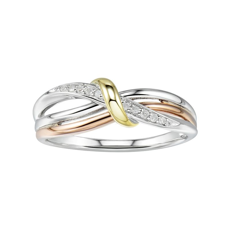 4e45831ba Two Hearts Forever One Tri-Tone Sterling Silver Diamond Accent Twist Ring,  Women's,