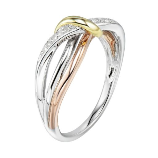 Two Hearts Forever One Tri-Tone Sterling Silver Diamond Accent Twist Ring