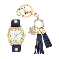 Women's Watch & Crystal Heart Tassel Key Chain Set