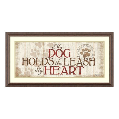 My Dog Holds The Leash Framed Wall Art