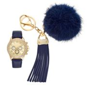 Women's Crystal Watch & Pom Pom Tassel Key Chain Set