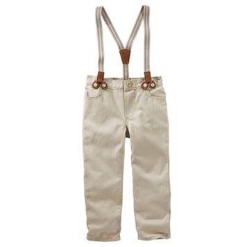 Toddler Boy OshKosh B'gosh® Khaki Twill Suspender Pants