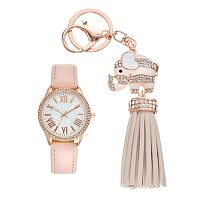 Women's Crystal Watch & Elephant Tassel Key Chain Set