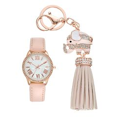 Women's Crystal Watch & Elephant Tassel Key Chain Set