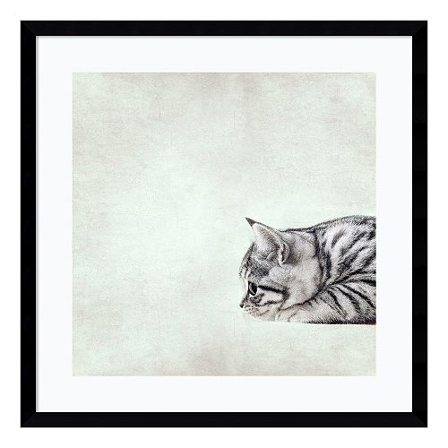 In The Waiting Line Kitty Framed Wall Art