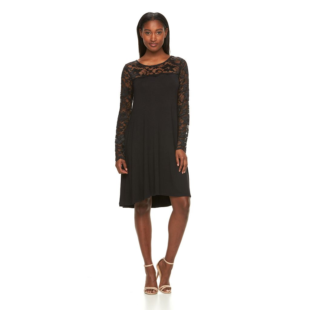 Women's Nina Leonard Lace-Trim A-Line Dress