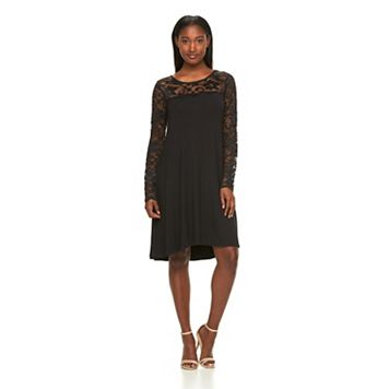 Women's Nina Leonard Lace-Trim A-Line Dress