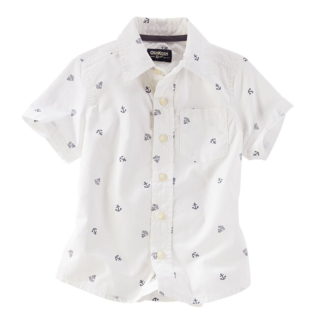 Toddler Boy OshKosh B'gosh® Short Sleeve Printed Anchors Button-Down Shirt