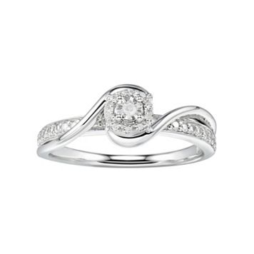 Promise Love ForeverSterling Silver Diamond Accent Halo Promise Ring
