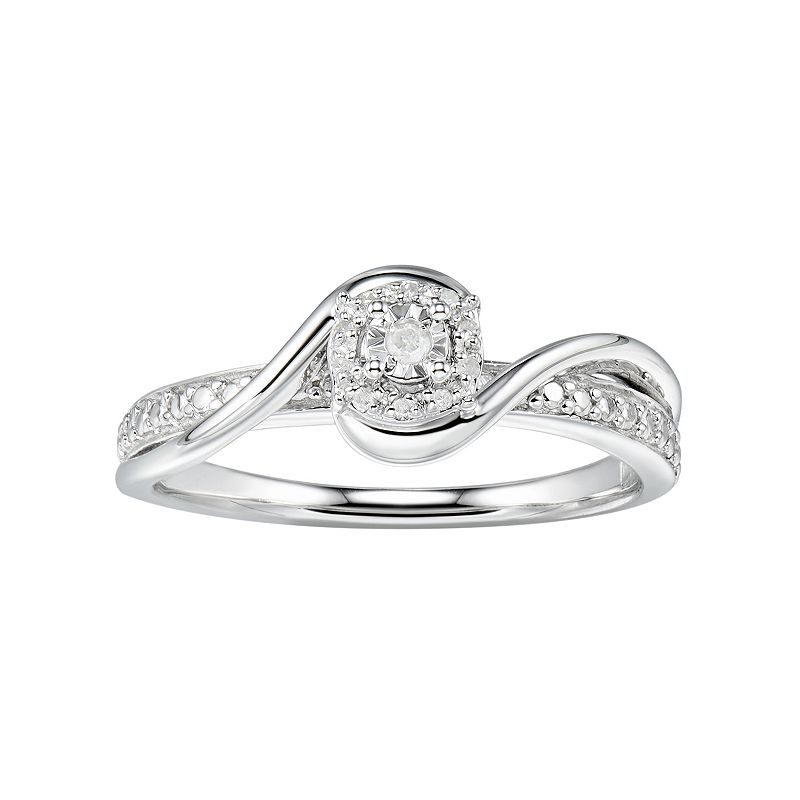 Promise Love Forever Sterling Silver Diamond Accent Halo Promise Ring, Women's, Size: 7, White