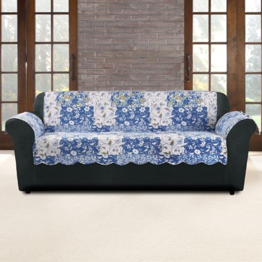 Sure Fit Heirloom Bluebell Floral Sofa Slipcover