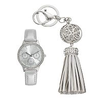 Women's Crystal Watch & Tassel Key Chain Set