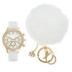 Women's Crystal Watch & Elephant Charm Pom Pom Key Chain Set