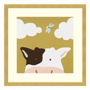 Peek-A-Boo III Cow Framed Wall Art