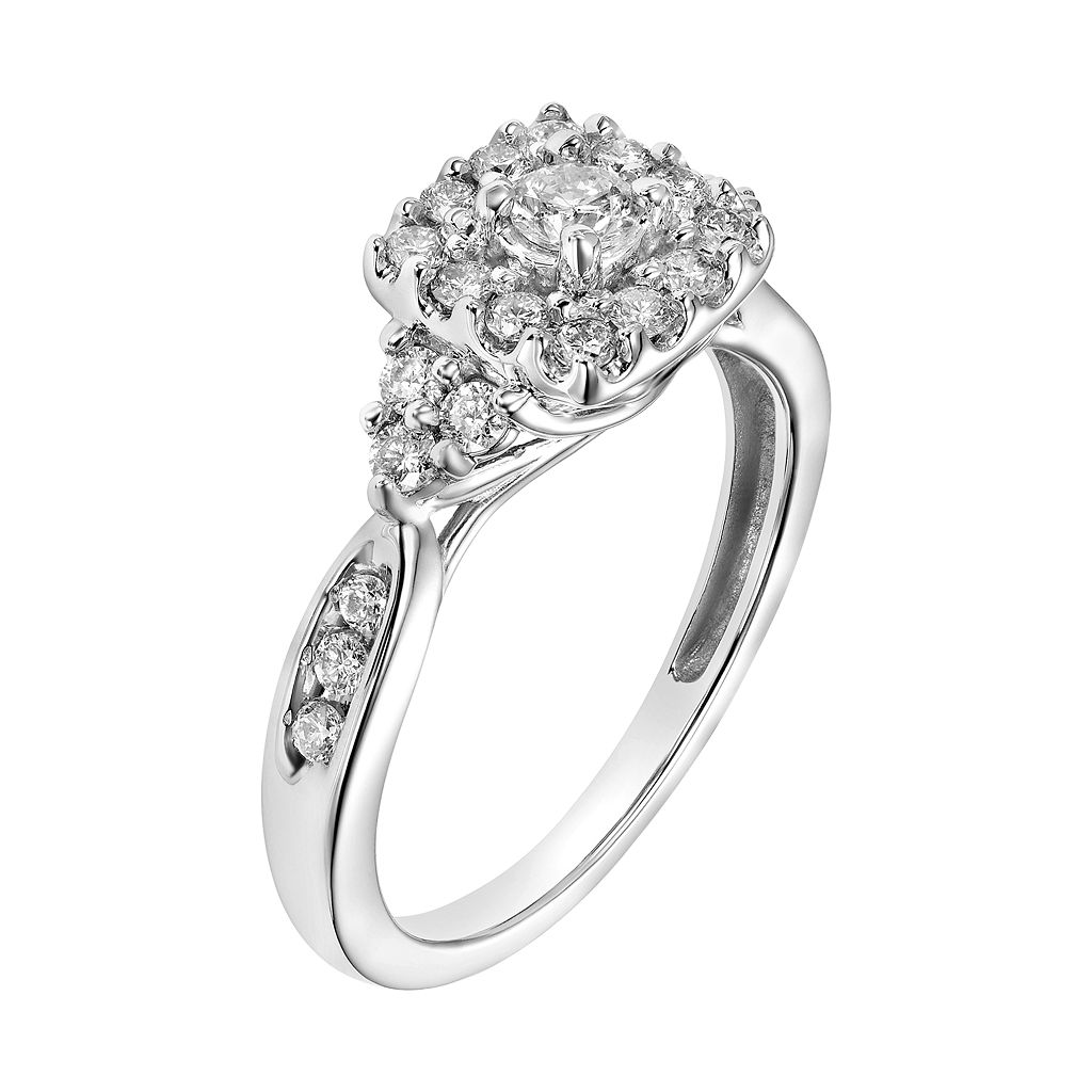 Cherish Always 10k White Gold 5/8 Carat T.W. Diamond Square Halo Engagement Ring