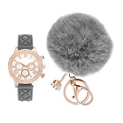 Women's Crystal Watch & Elephant Charm Pom Pom Key Chain Set