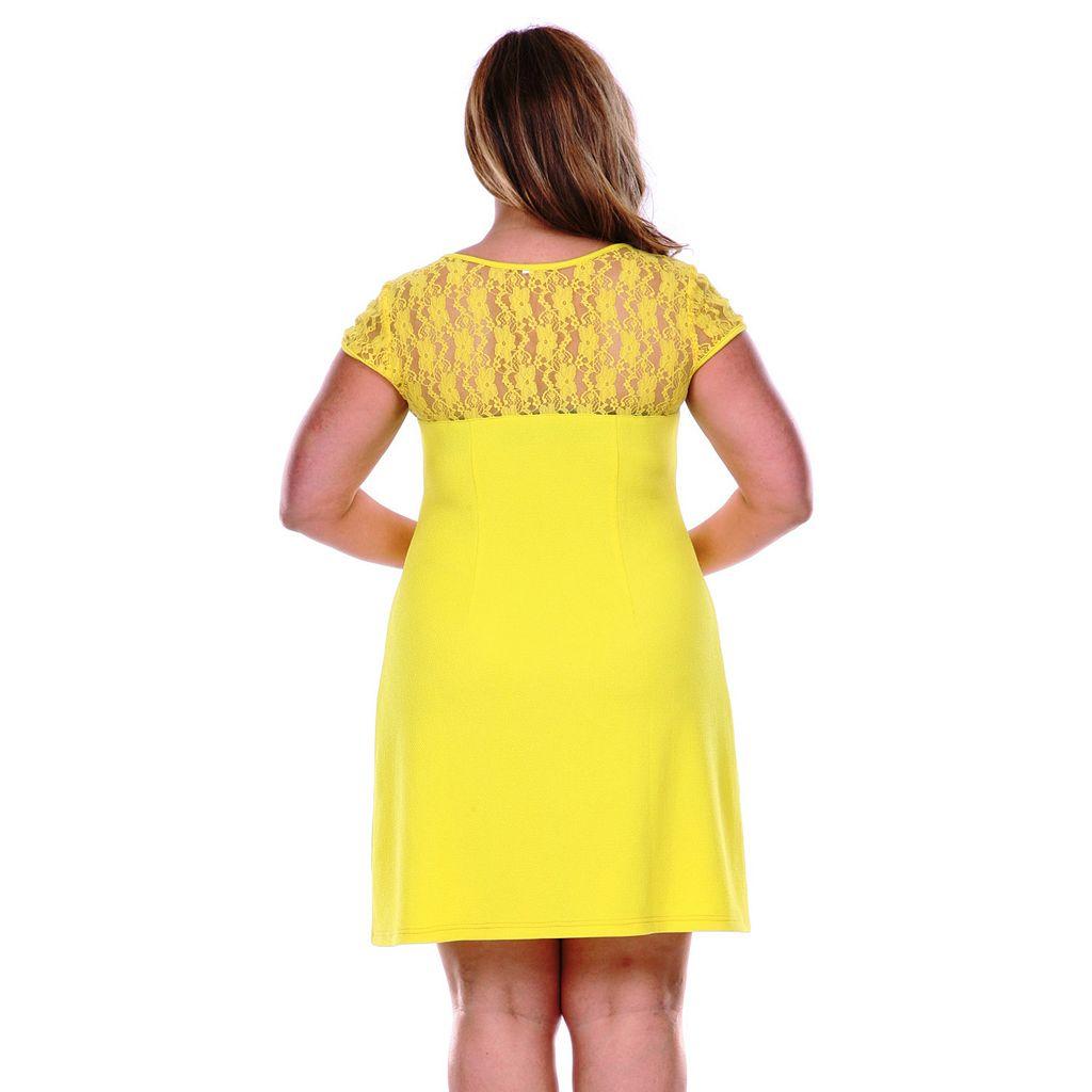 Plus Size White Mark Lace-Trim Fit & Flare Dress
