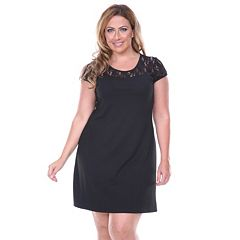 Plus Size White Mark Lace-Trim Fit & Flare Dress