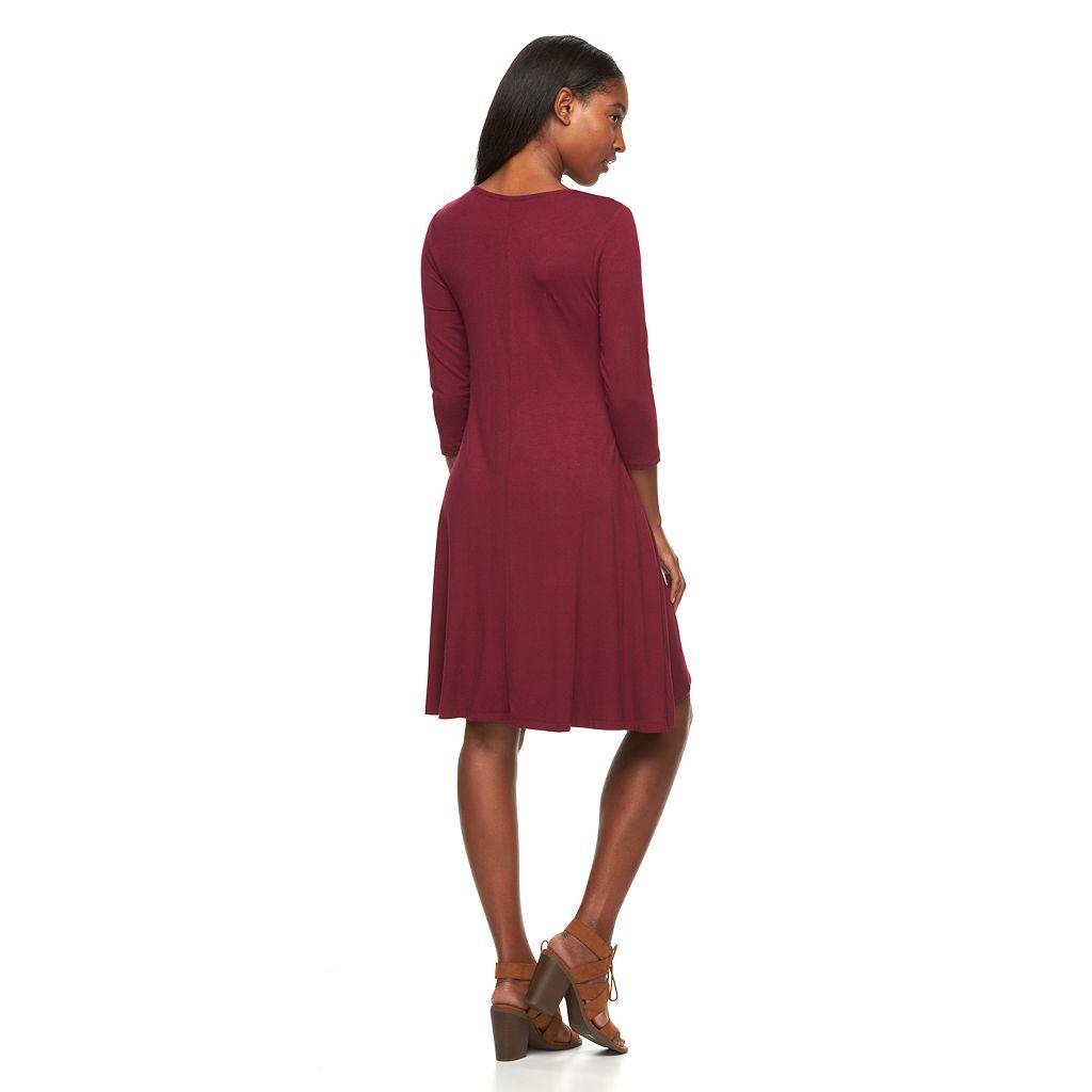 Women's Nina Leonard Lace-Up A-Line Dress
