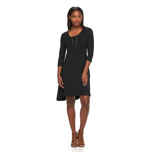 Women's Nina Leonard Lace-Up A-Line Dress