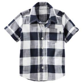 Toddler Boy OshKosh B'gosh® Short Sleeve Button-Down Navy & Ivory Buffalo Plaid Shirt
