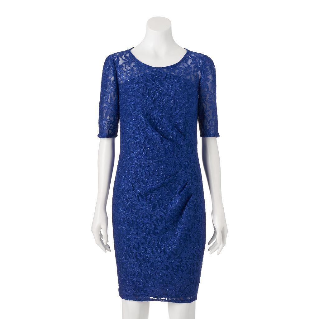 Women's 1 by 8 Glitter Lace Sheath Dress