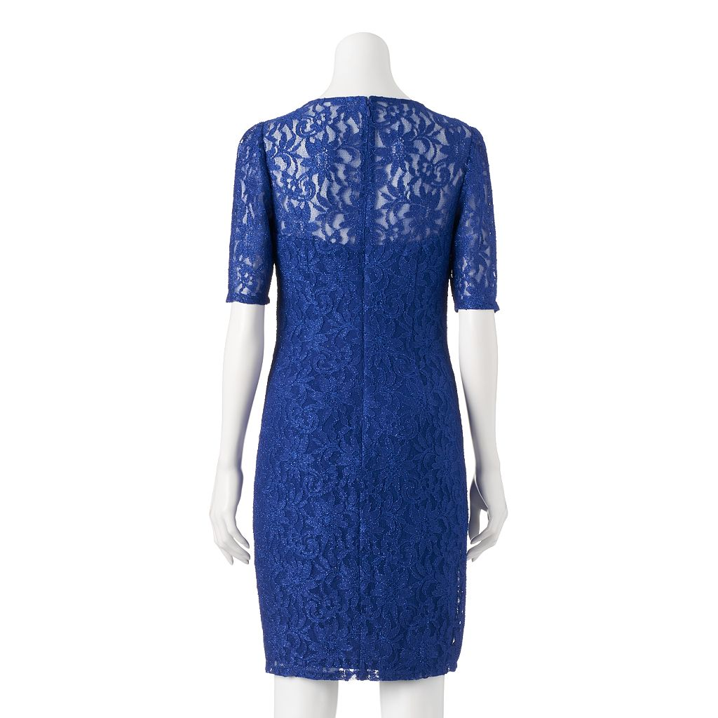 Women's 1 by 8 Glitter Lace Sheath Dress