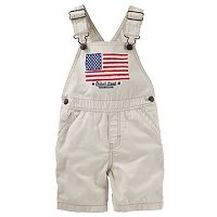 Toddler Boy OshKosh B'gosh® American Flag Khaki Shortalls
