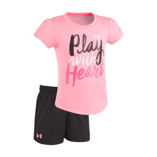 """Toddler Girl Under Armour """"Play With Heart"""" Tee & Shorts Set"""