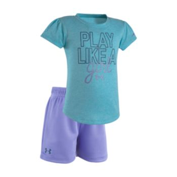 """Toddler Girl Under Armour """"Play Like A Girl"""" Tee & Shorts Set"""