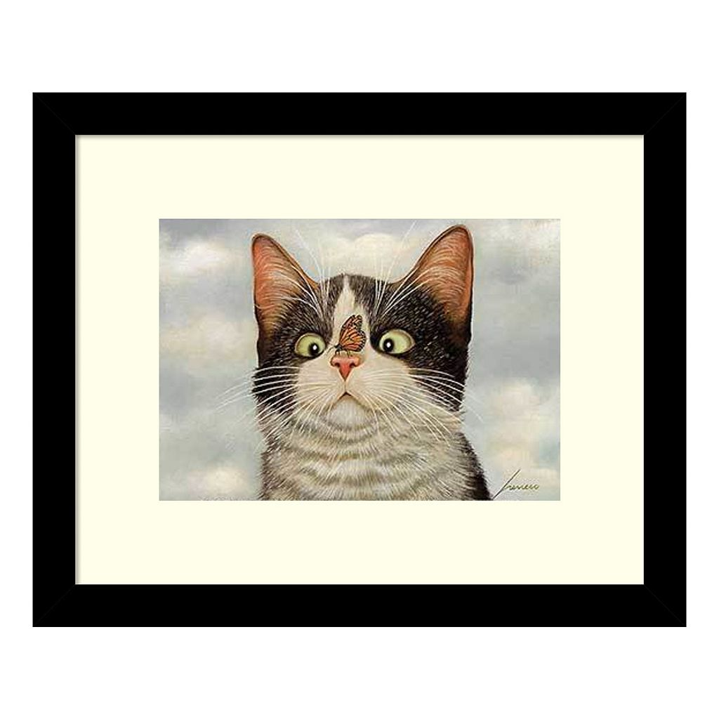 Hugo Hege Cat And Butterfly Framed Wall Art