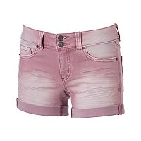 Juniors' Mudd® FLX Stretch 2-Button Denim Midi Shorts