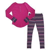 Girls 7-16 & Plus Size French Toast Thermal Henley Tee & Printed Leggings Set