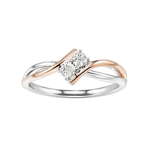 Two Tone Sterling Silver Diamond Accent 2-Stone Bypass Ring