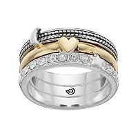 love this life Two Tone Silver Plated Crystal Heart & Moon Ring
