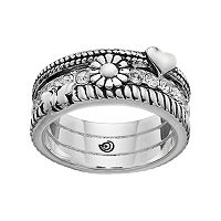 love this life Silver Plated Crystal Heart & Flower Ring