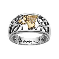 love this life Two Tone Silver Plated Crystal Angel Ring