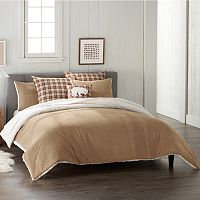 Cuddl Duds Sherpa Full/Queen Comforter Set (Tan / Brown) + $10 Kohls Cash