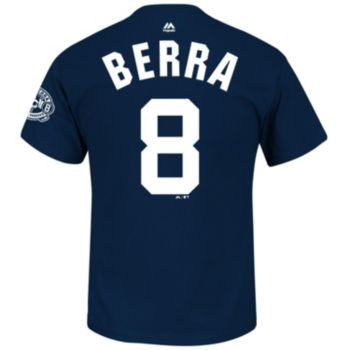 Men's Majestic New York Yankees Yogi Berra Commemorative Name and Number Tee